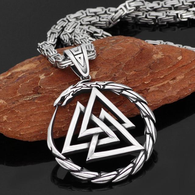 Collier pendentif homme en acier inoxydable Viking Valknut amulette dragon 2