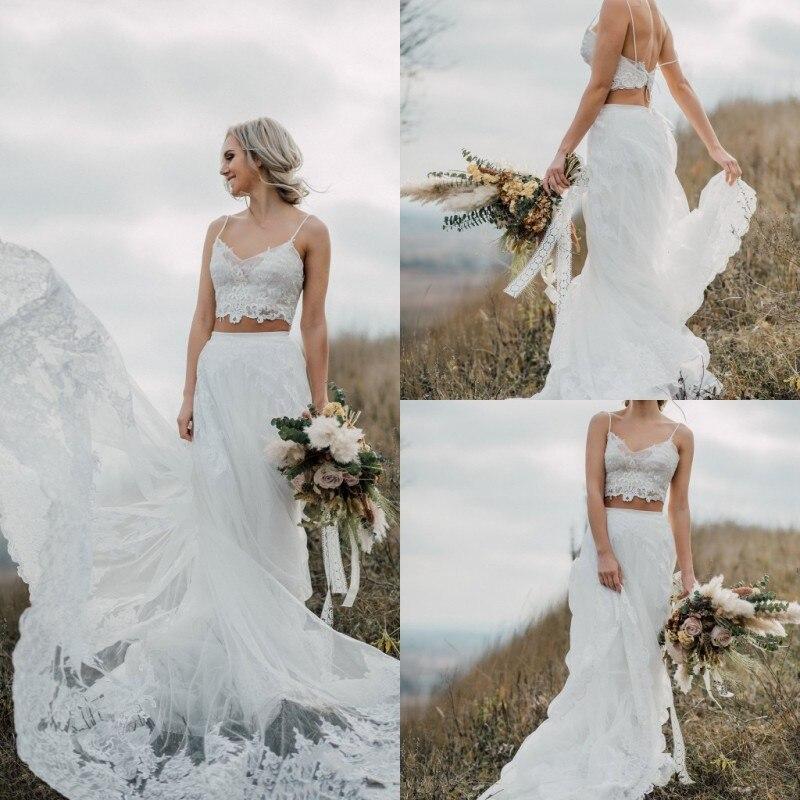 2019 Bohemian Wedding Dresses Spaghetti Straps Backless Lace Bridal Gowns Boho Vestidos De Noiva Country Wedding Dress