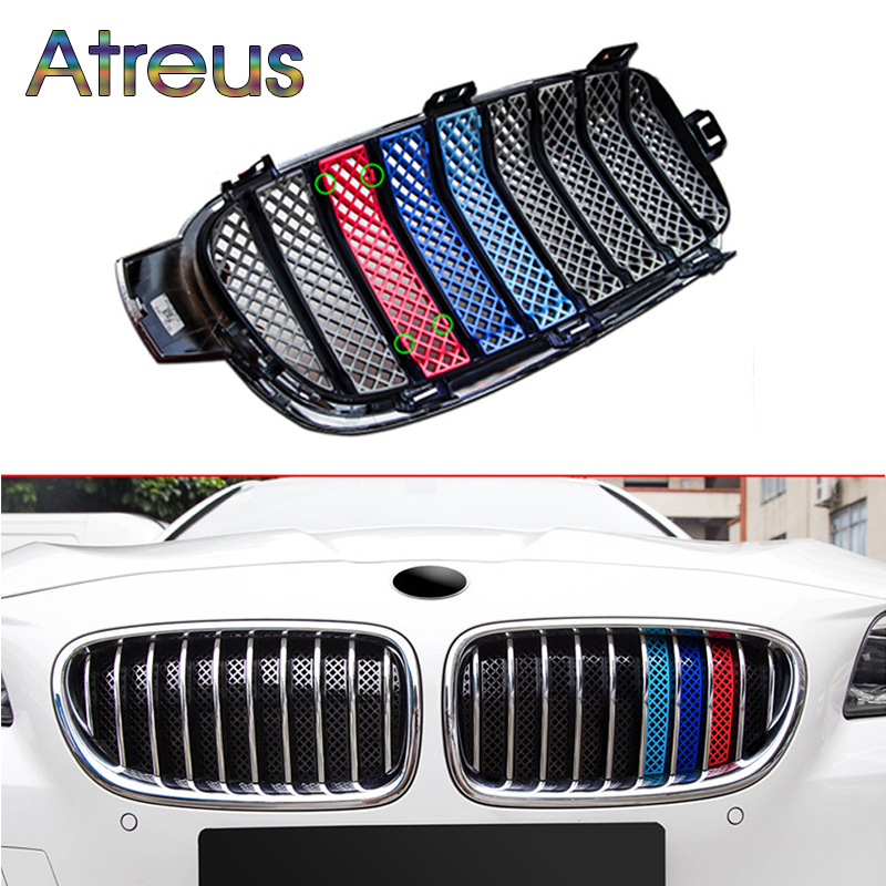 Atreus 1set 3D Car Front Grille Trim Sport Strips Cover Anti-mosquito Stickers For BMW F30 F10 F18 F35 F11 M Power Accessories