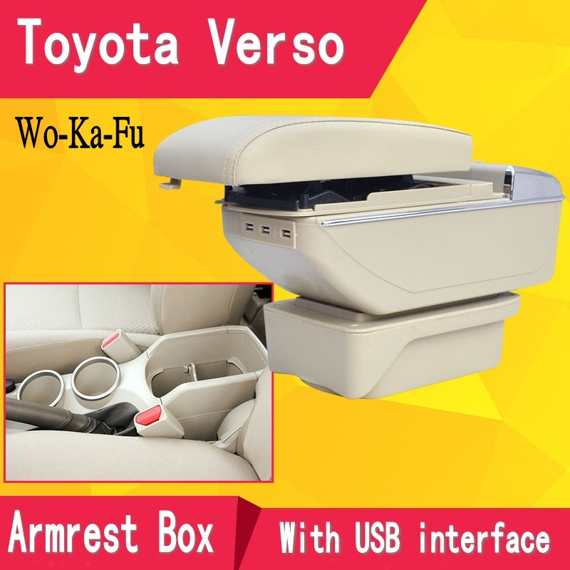 For Toyota Verso armrest box central Store content Storage box with cup holder ashtray USB interface products 2011-2015 qcbxyyxh for chevrolet sail 3 armrest central store content storage box with cup holder ashtray abs leather accessory 2015 2018