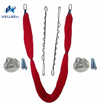 Luxury Set Elastic Aerial Flying Anti-gravity Yoga Hammock Swing + daisy Chain +Ceiling Anchor for Yoga body building slimming