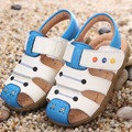2016 New Baby Sandals Boys Flat Shoes Cartoon Genuine Leather Beach Pool Sandals For Girls White Black Brown Summer Shoes TX205
