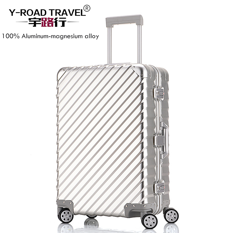 100% Full Aluminum Alloy pull rod suitcase 20/25/29 inch metal luggage fashionable new type of suitcase luggage pull rod box