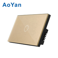 AoYan US Standard 110 220V 1 Gang 2 Gang 3 Gang 1way Touch Switches Waterproof Panel