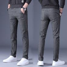 Весенне-осенние тонкие прямые брюки для мужчин, новые модные мужские повседневные брюки, мужские деловые брюки, клетчатые брюки для мужчин