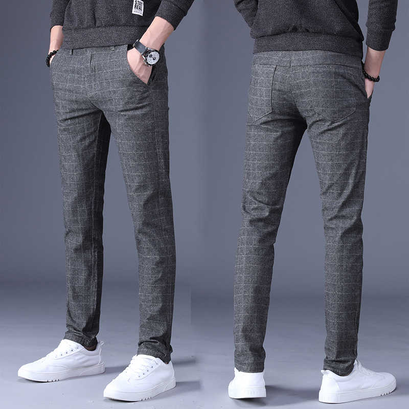 Spring Autumn Slim Straight Pant Men New Fashion Men Casual Pants male Business Trousers plaid pants men