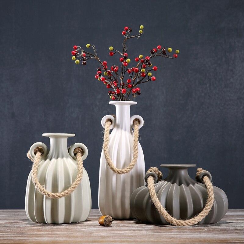 Vintage Ceramics Double Ears Vase Porcelain Hemp Pot Vase Flower Pitcher Room Decor Art and Craft Present Ornament Accessories