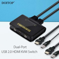 DOITOP HD 1080P Switcher Dual Port USB 2.0 HDMI KVM Switch Audio Video Cable For Dual Monitor Keyboard Mouse Switching Devices