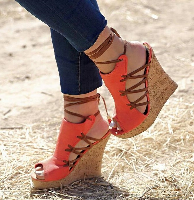 Large Size 13 Women Peep Toe Wedge Sandals Cut-out High Platform Ankle Warp Summer Dress Shoes Blue Orange Lace-up Shoes big size 10 cheap price name brand snake print leather lace up high heel sandals ankle tassel design cut out summer dress shoes