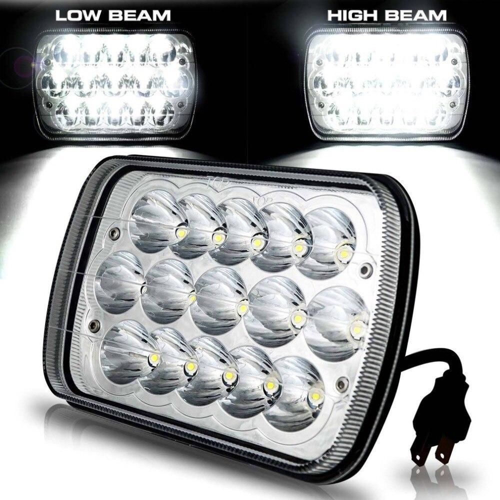 ICOCO 1Pair 6x7 Car Headlight H4 LED Bulb 45W Super Bright Crystal Clear Sealed Beam Headlamp High-Low Beam Work Light