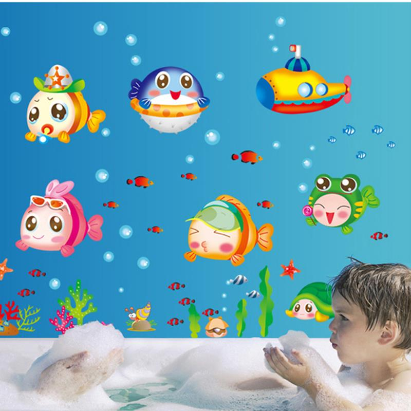 nemo fish bubble cartoon wall sticker for shower bathtoom stickers for children kids baby bath. Black Bedroom Furniture Sets. Home Design Ideas