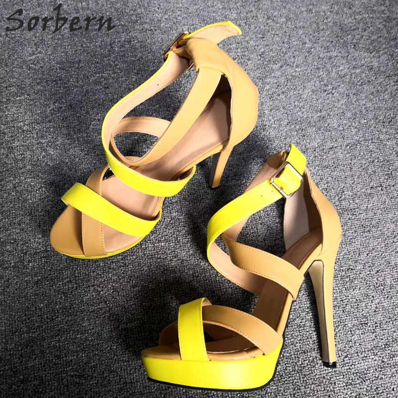 Sorbern Cross Strap Women Sandal High Heel Summer Style Shoes Platform 2019 Woman Sandals European Custom Multicolor Heels