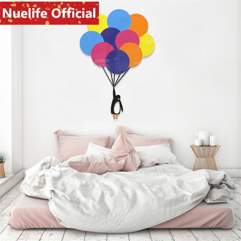 Autour du ciel petit pingouin ballon 3D acrylique stickers muraux chambre enfants chambre maternelle fond stickers muraux N4 - 3