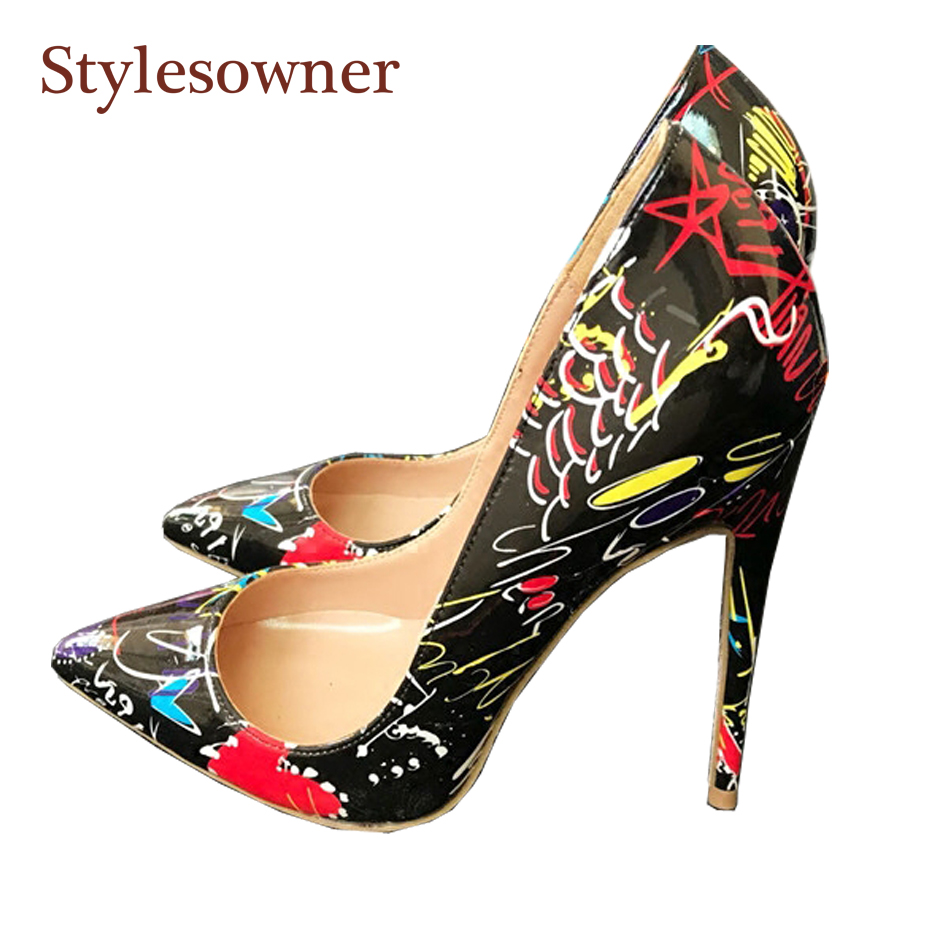 Detail Feedback Questions about Stylesowner 2018 New designer red heart black  high heeled pumps shoes sexy pointed toe thin heel beautiful shoes size 33  44 ... b57a353a6588
