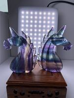 Top quality Natural crystal stone raibow flourite unicorn carving animals for home decoration