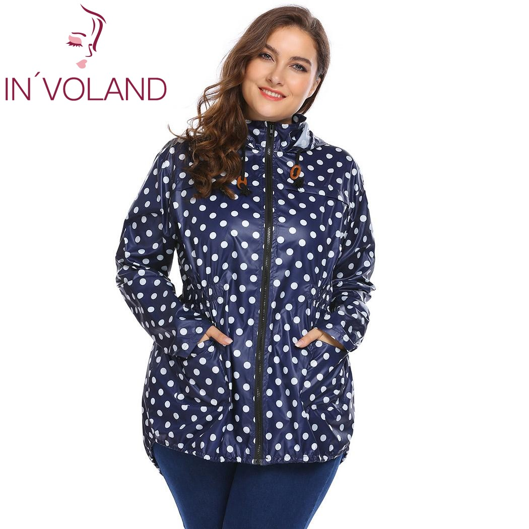 IN'VOLAND Women Hooded Hoodie Jacket Plus Size XL-5XL Spring Autumn Long Sleeve Dot Drawstring Sweatshirt Raincoat Coat Big Size