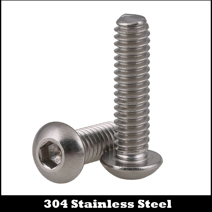 1/4-20 1/4-20*1 1/4-20*1-1/4 1 1-1/4 304 Stainless Steel US UNC Coarse Thread Bolt Hexagon Socket Pan Round Button Head Screw 1 4
