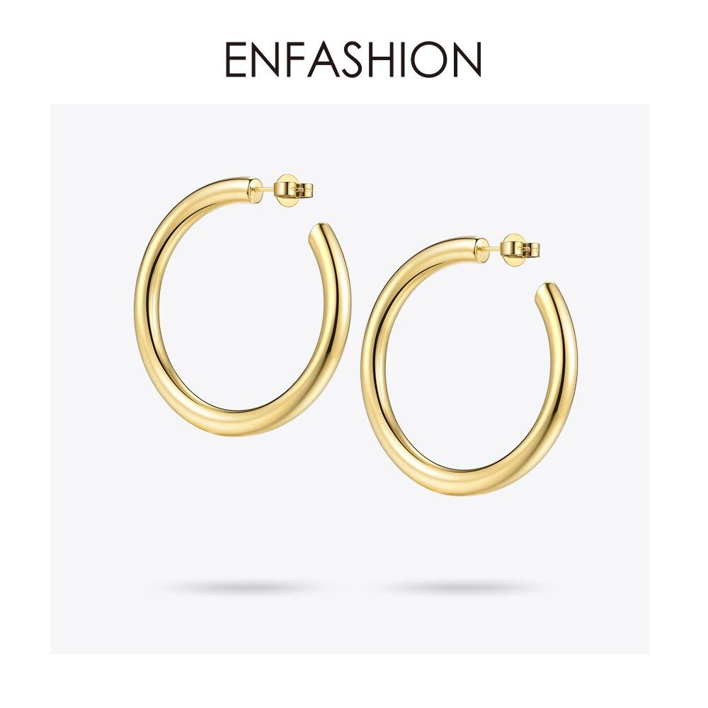 Enfashion Big Hoop Earrings Solid Gold Color Eternity Earings Stainless Steel Circle Earrings For Women Jewelry EC171022