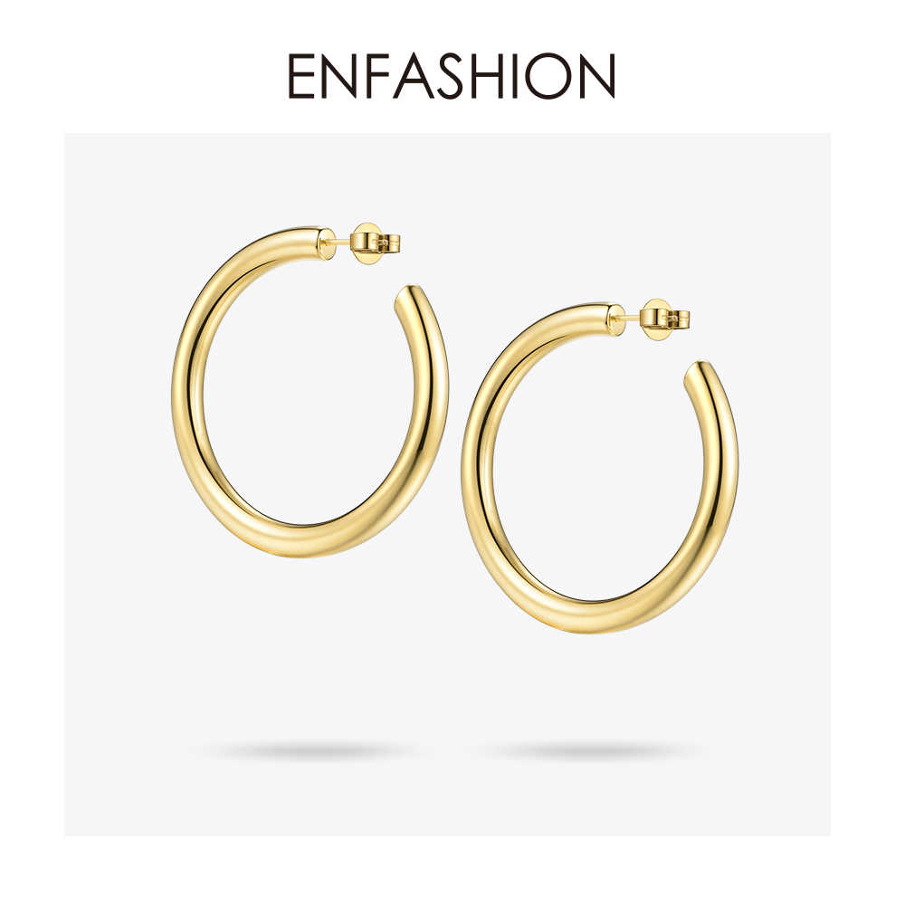 Enfashion Big Hoop Earrings Solid Gold color Eternity Earings Stainless Steel Circle Earrings For Women Jewelry EC171022