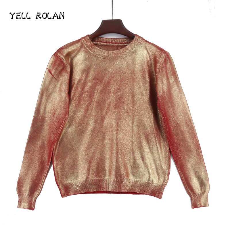 Women winter clothing 2018 Bronzing Golden Tops Christmas Pink Sweater Spring Solid Knitting Pullover Deep O Neck Jumper New