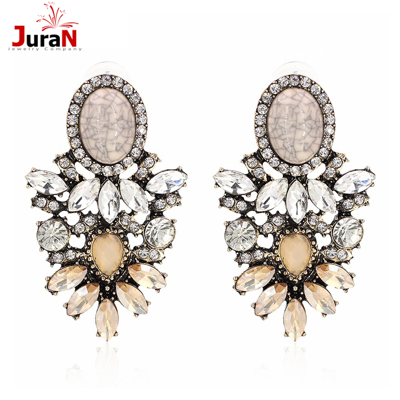 JURAN Handmade Vintage Flower Rhinestone Stud Earrings Jewelry 2019 Big New Statement Fashion Crystal Earring For Women C3506