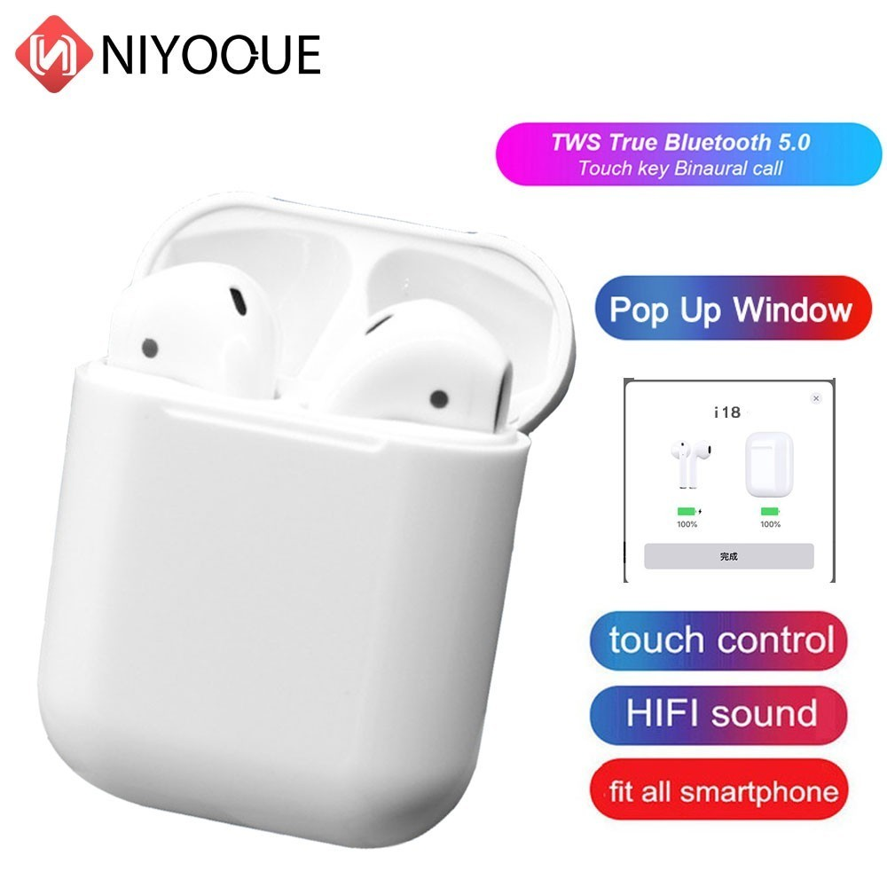 <font><b>I18</b></font> <font><b>TWS</b></font> Bluetooth 5.0 <font><b>Earphones</b></font> Earbuds Wireless Headsets 3D Sound Touch Control For Iphone Xiaomi Huawei image