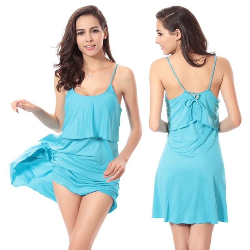 2017Hot vente femmes couleur unie bretelles jupe plage couverture Ups Sexy dos nu maillots de bain maillot de bain maillot de bain 11 couleurs robe de bain