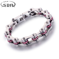 SDA New Biker Chain Bracelets Pink Black Crystal 10mm Wide Stainless steel Bracelet Factory dropping shipping 6 Sizes YM001CPI