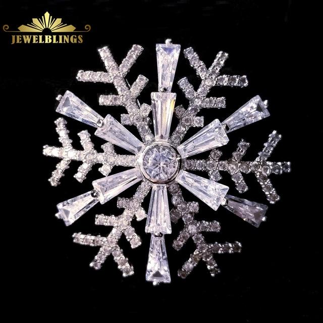 Bling micro pave e corte Baguette cz broches de flor de neve Tom de prata Rodada Cúpula de Pedra círculo Floco De Neve Broche para Ela presente