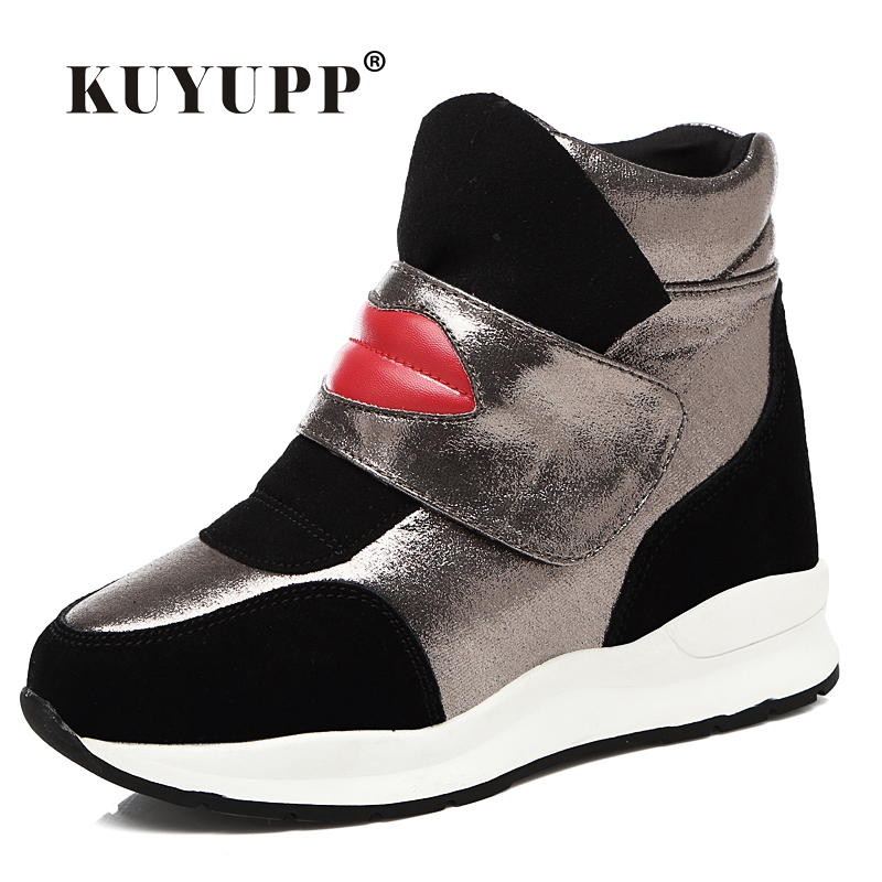 ФОТО Sexy Red Lips Genuine Leather Women Boots 2016 Concealed Heel Wedges High Top Platform Ankle Boots Red Bottom Ladies Shoes DX38