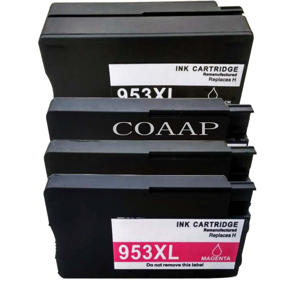 4 Pack Compatible <font><b>HP</b></font> 953XL BK/C/M/Y <font><b>Refilled</b></font> Ink Cartridge for <font><b>HP</b></font> OfficeJet Pro 8210 8218 8719 8720 8728 8730 8740 8710 Printer image