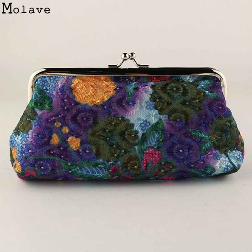 Women National Style Coin Purse Polyester Small font b Wallet b font Girls Change Pocket Pouch