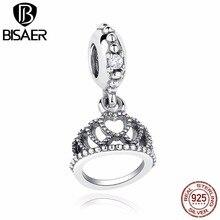 e59d6b0bb ... 925 Sterling Silver Princess Hearts Tiara Dangle Charm Fit Pandora  Original Bracelet Necklace Clear CZ Jewelry ...