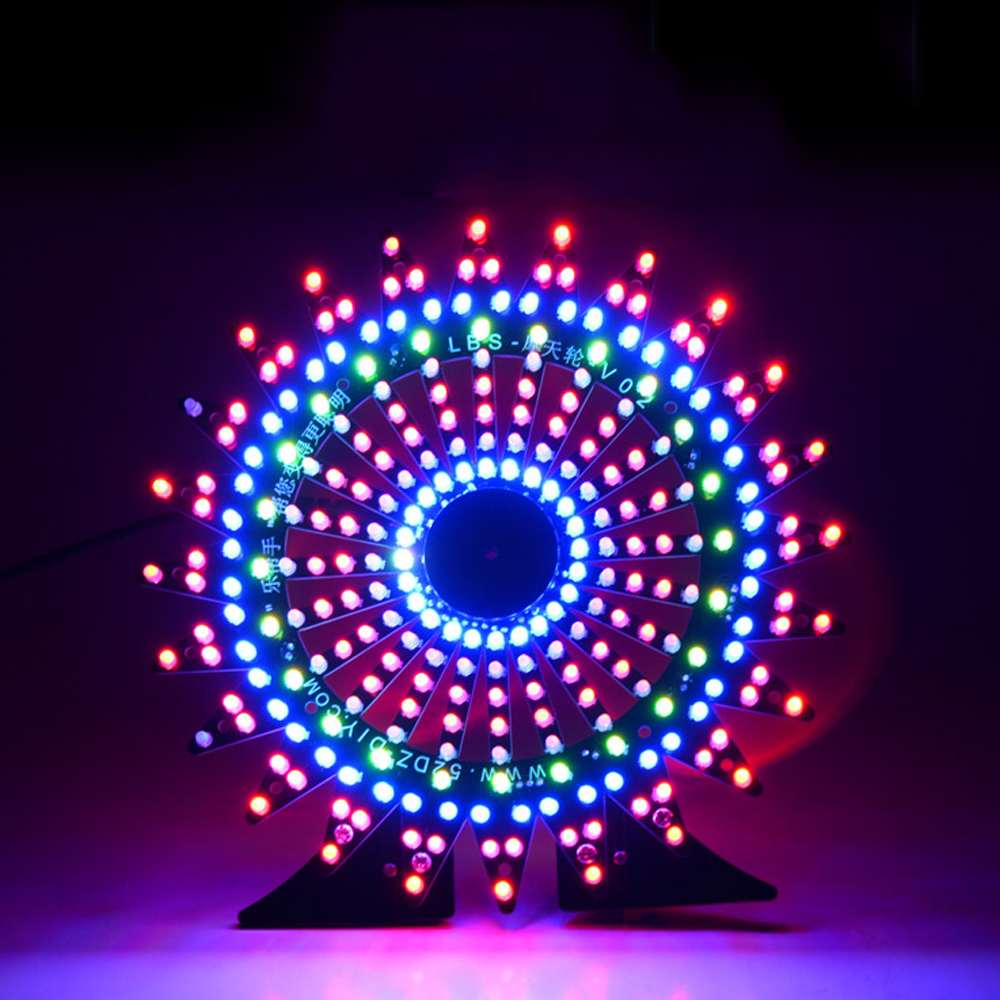 Ferris Wheel Model Music Spectrum DIY Kit Electronic 51 Single chip Colorful LED Flash Kit Module