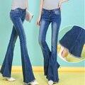 2017 New Fashion Jeans Women Vintage Mid Waist Flare Pants Skinny Jeans Female Dark Blue Wide Leg Female Denim Pants C600