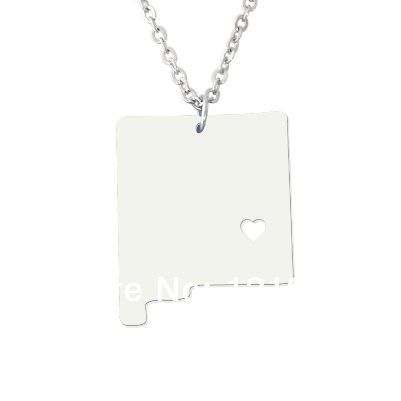 I heart new mexico Necklace State Necklace Map Pendant - State Charm - NM Map Custom map jewelry