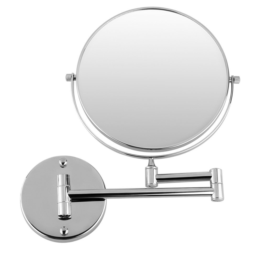 HHFF Chrome Round Extending 8 inches cosmetic wall mounted make up mirror shaving bathroom mirror 3x Magnification silver extending 8 inches cosmetic wall mounted make up mirror shaving bathroom mirror 7x magnification