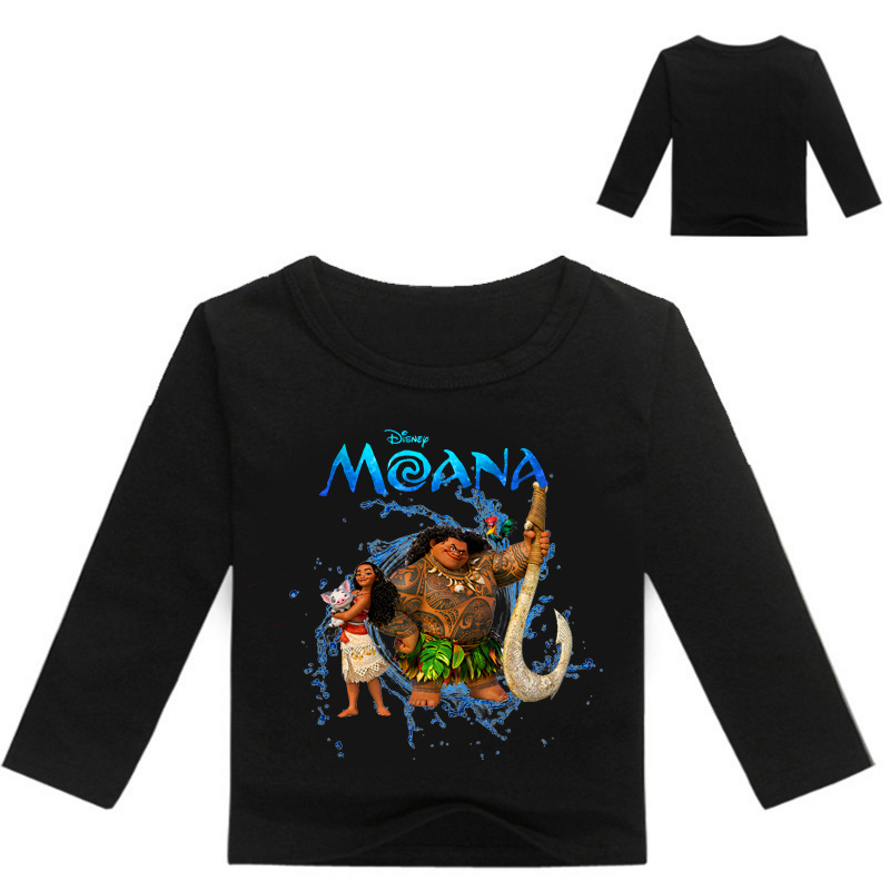Summer 100% Cotton Boys Girls Clothing Children Kids moana Clothes Tops Tees T-Shirts Long Sleeve t Shirt For 6 8 10 12 14 Years