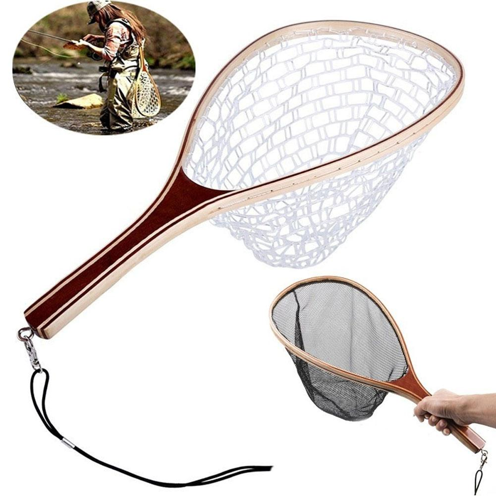 Wooden Handle Fly Fishing Landing Net Mesh Trout Rubber Catch Tackle