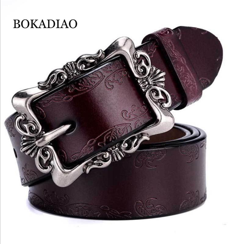 BOKADIAO Hot Women's Genuine Leather Belt Punk Luxury Brand Designer Belts For Women High Quality Casual Female Jeans Belt Brown