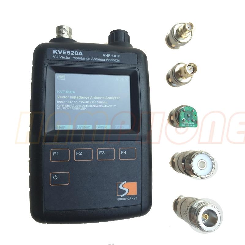 Newest KVE520A VHF/UHF VU Vector Impedance Antenna Analyzer + 5pcs Adapters For Amateur HAM Radios Vector Radio KVE 520A Vector
