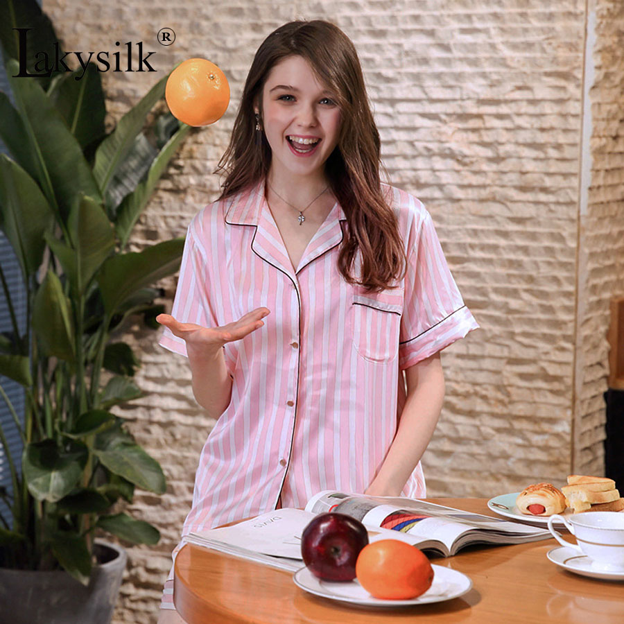 [Lakysilk]Sexy Pajamas Pants Set for Women Short Sleeve Satin Stripe Shorts Pajamas Two Piece Ladies Sleepwear Home Clothes Pink