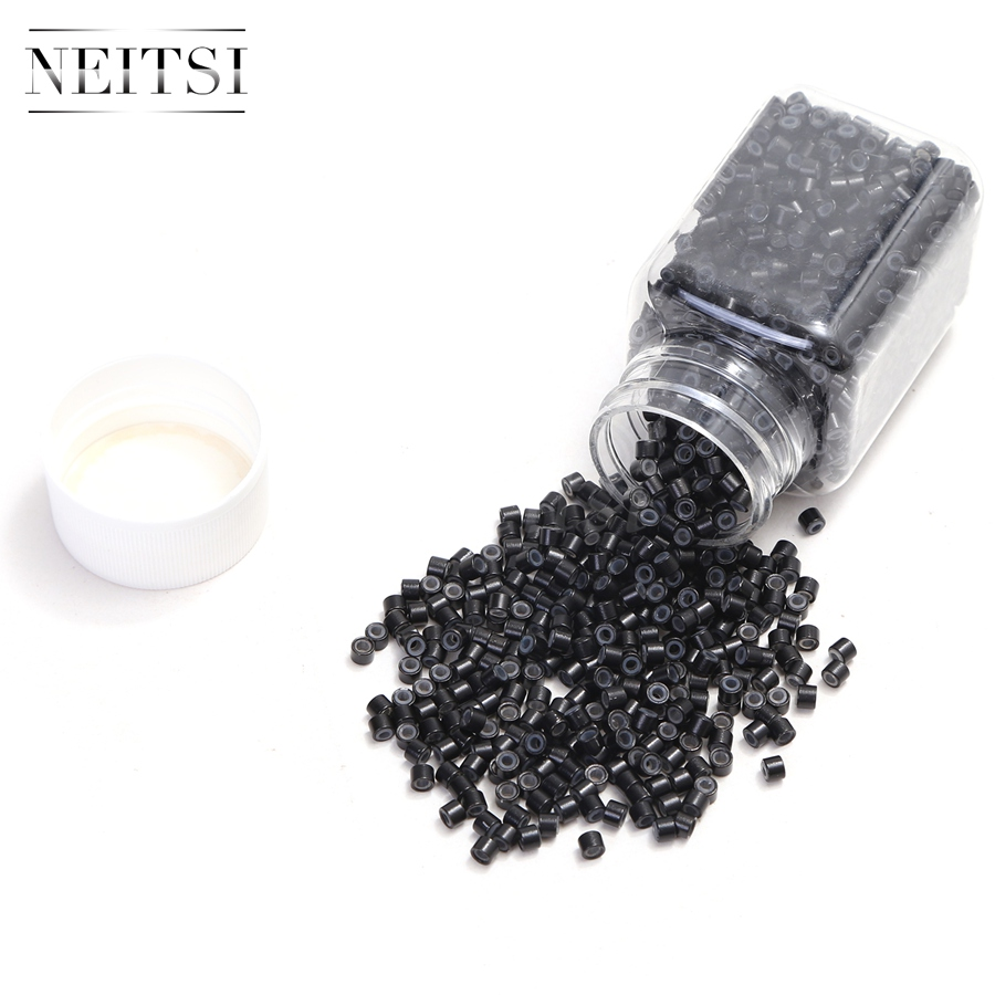 Neisti Silicone Micro Ring Beads Hair Extension 1000pcs bottle 4027 For Feather Hair Extensions in Links Rings Tubes from Hair Extensions Wigs