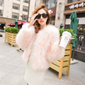 Winter new 100% true hair ostrich hair female 7 minutes of sleeve thickening fire feather fur coat