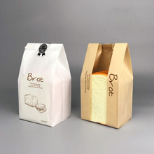 20 Pcs 23x12x5cm Bread Bag With Window Kraft Bag Paper Food Packaging To The School White Baking Toast Bakery Bread Bags Sticker 100 pcs bread bag 57x10x4cm kraft paper food packaging bakery baking baguette paper bread bags with window customized supplier