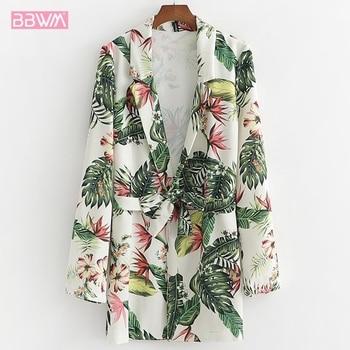 2019 夏新女性のカジュアルライン帯域幅松フラワープリント薄型節日保護服ウエストファッションコート
