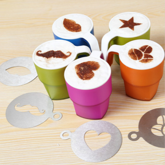 Image result for coffee art by sprinkling on with stencil