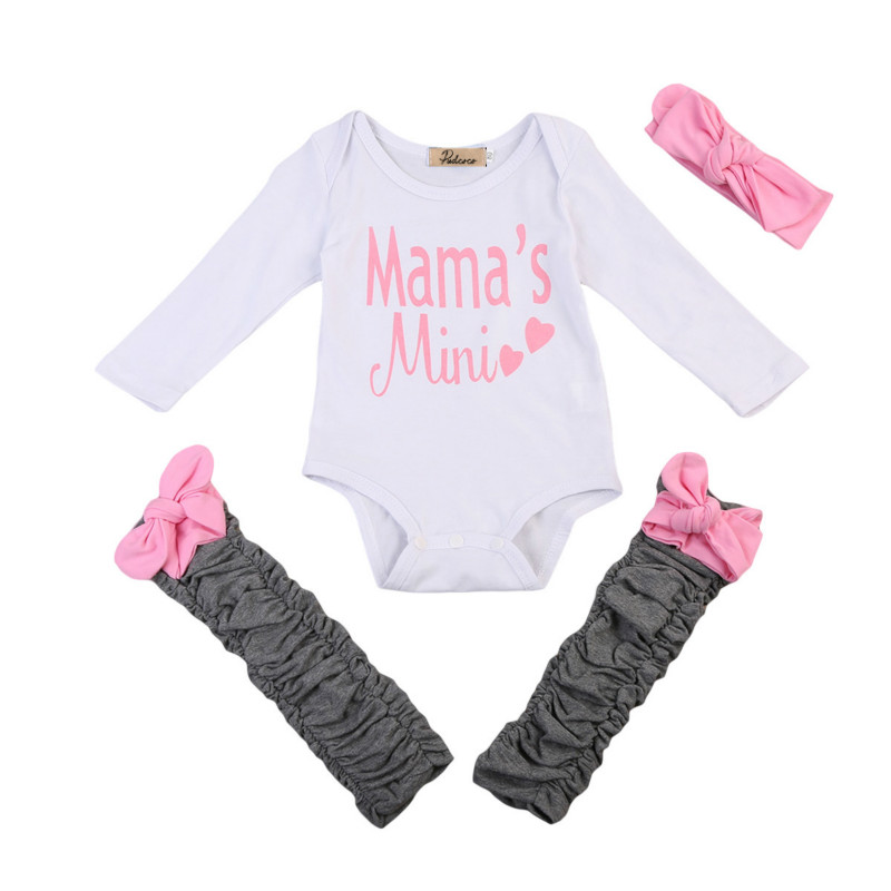 3Pcs Newborn Baby Girls Infant Cotton Clothes Set Letter Long Sleeve Romper Leg Warmer Headband Kids Autumn Spring Clothing Sets