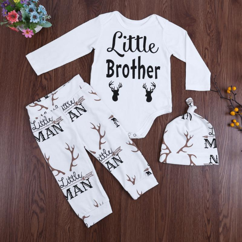 3pcs Newborn Baby Clothing Set Baby Boys Girls Reindeer Print Jumpsuit+Pants+Hat Outfit Kids Christmas Clothes