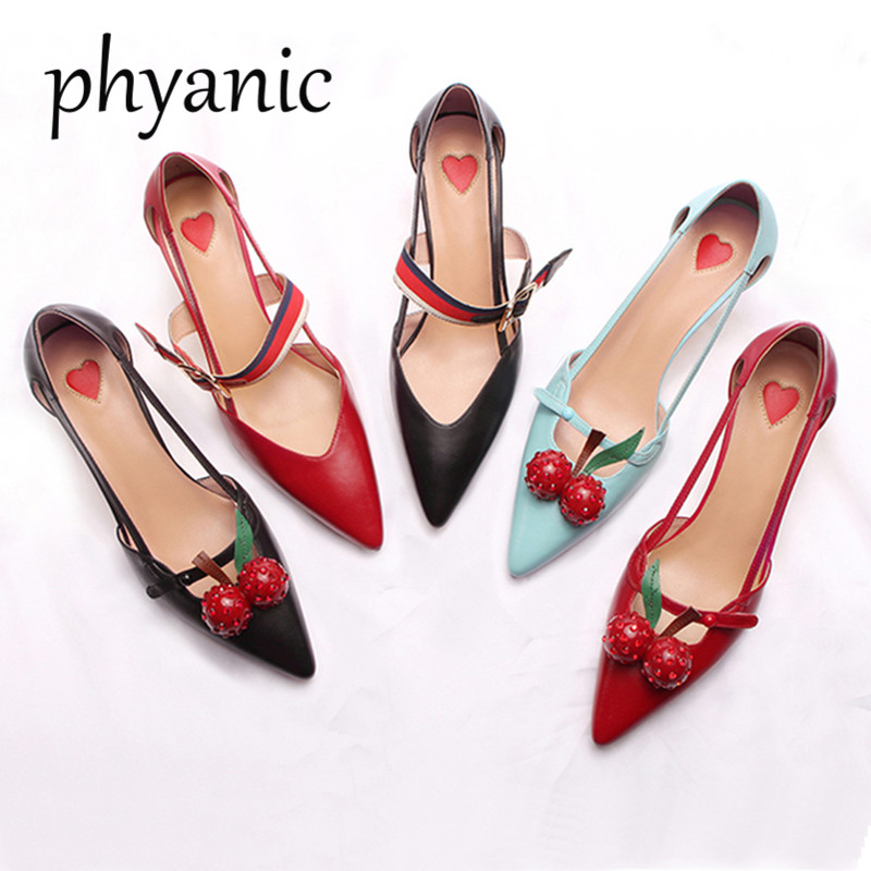 Phyanic Brand 2018 Women Leather Cherry Pumps Med Heel Bamboo section Heels Slip On Spring Summer Pointed Toe Ladies Shoes